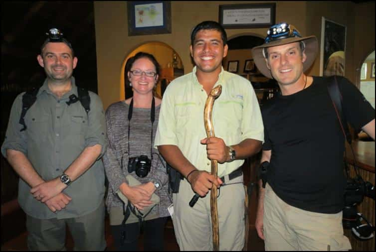 Jonathan & Nick with lovely fellow traveller Kiera and also Gary, one of the fantastic staff members & guides at Luna Lodge
