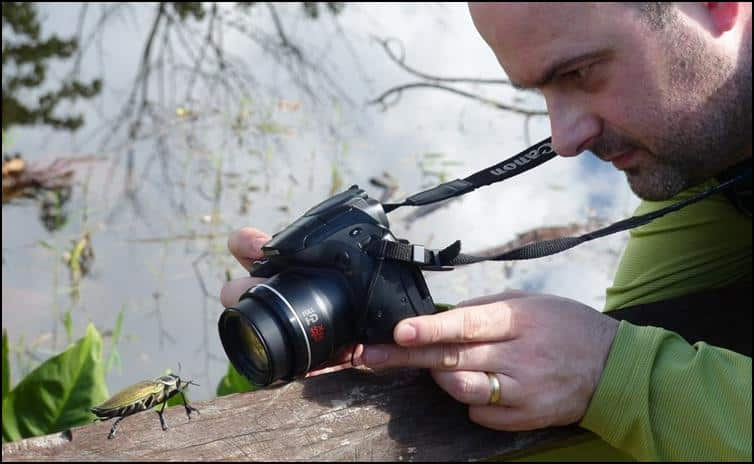 Jonathan taking a photo of Ceiba borer beetle
