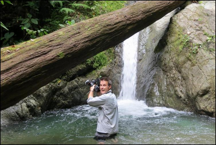 Nick Baker photographing central American huntsman spiders