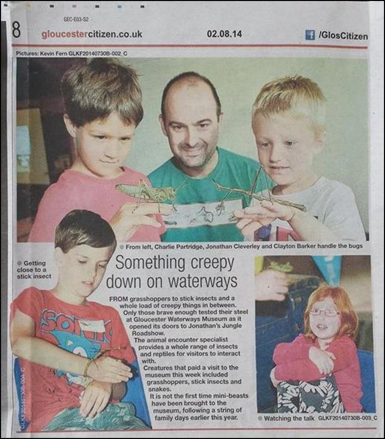 Gloucester Citizen press article about Jonathan's appearance at the waterways museum