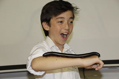 Excited child handling a millipede